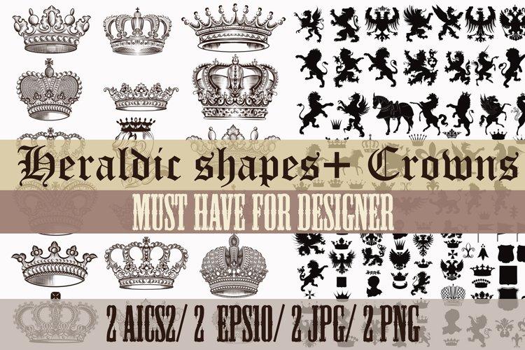 Big set of crowns and heraldic shape