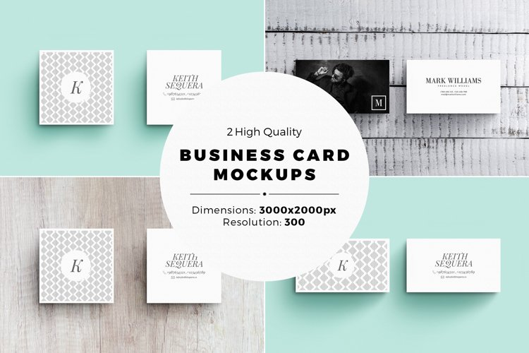 Business Card MockUps with Templates example image 1