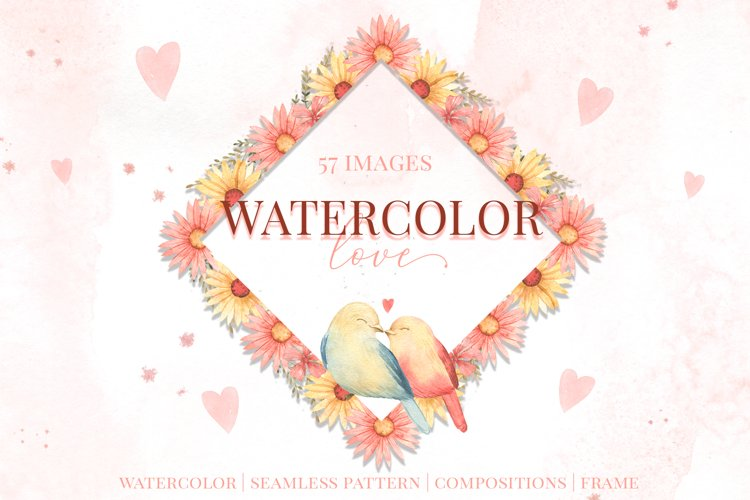 Watercolor Love. Valentine day