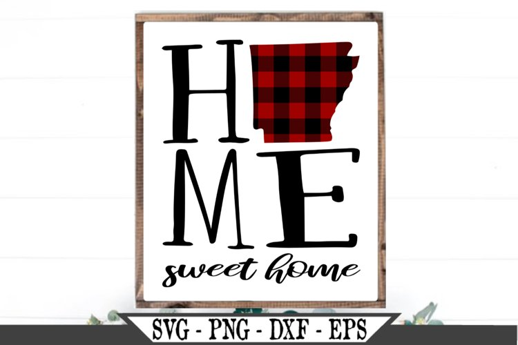 Arkansas State Home Sweet Home Buffalo Plaid SVG Design example image 1