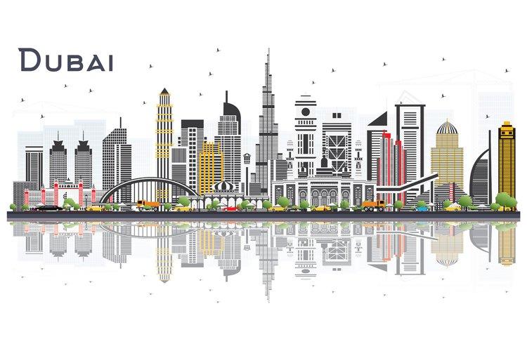 Dubai UAE City Skyline with Color Buildings example image 1