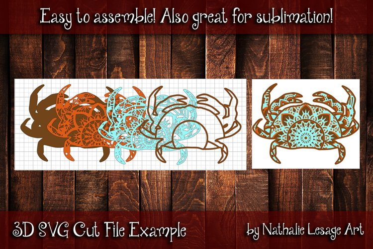 Layered Mandala Crab 3D SVG Beach Design And Sublimation example 1