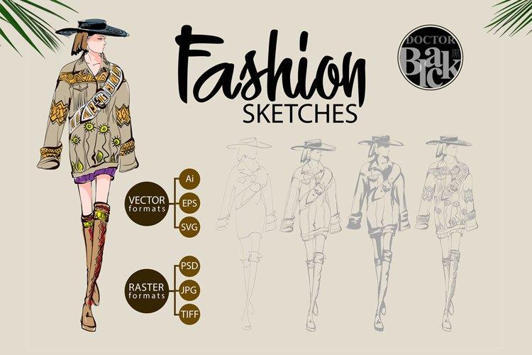 Hand drawn Fashion Sketches. Trendy look girls