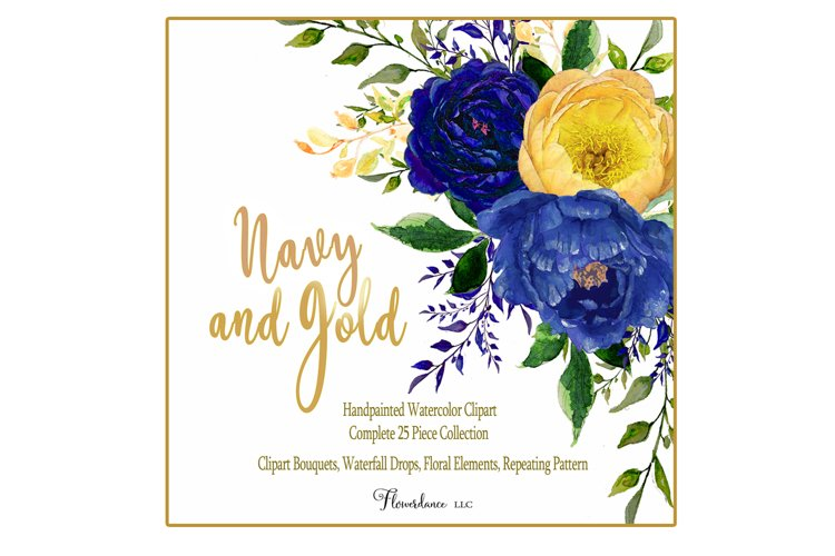 Watercolor Navy and Gold Floral Clipart 32 Piece Bundle
