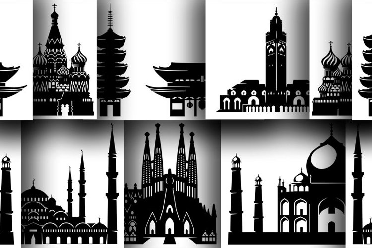 6 Architectural monuments in silhouettes for print or cut example image 1