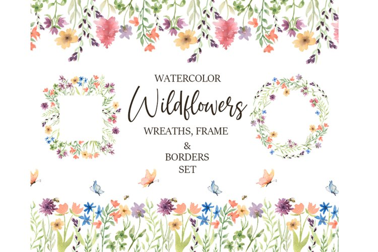 Watercolor Wildflower Frame Wreath Border Clipart example image 1