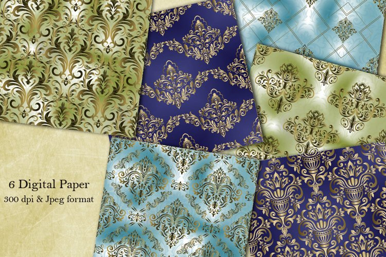 Damask seamless pattern collection. Digital Paper. Victorian