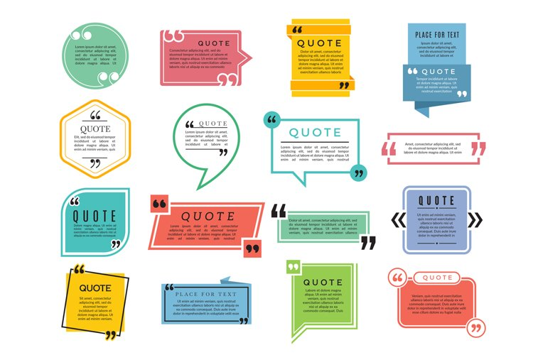 Quotes shapes. Text boxes remark sentences quotes vector typ