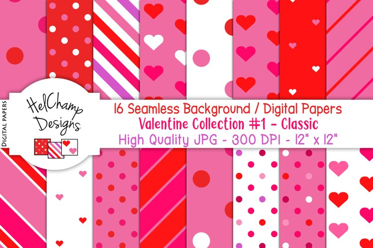 16 seamless Digital Papers Valentine Collection #1 - HC021