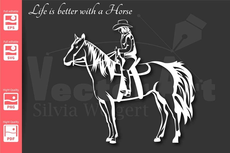 Cowgirl and Horse - SVG -