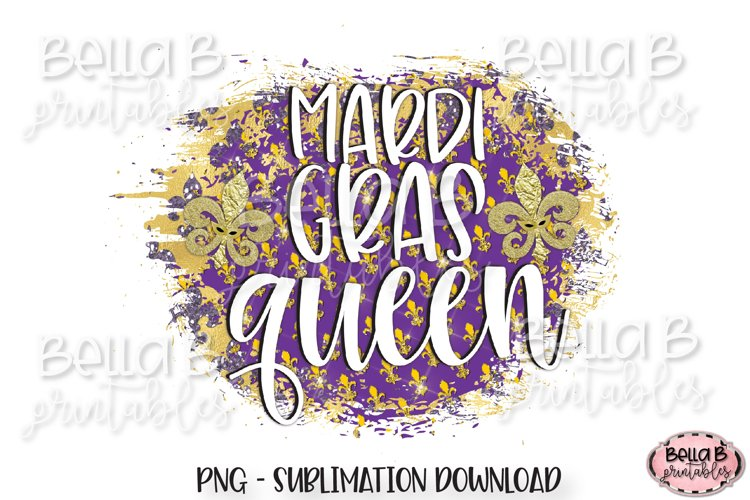 Mardi Gras Sublimation Design, Mardi Gras Queen example image 1