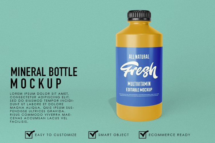 Realistic Bottle Container Mockup Template