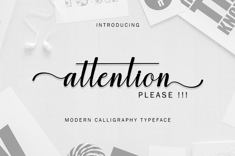 Attention script Font example image 1