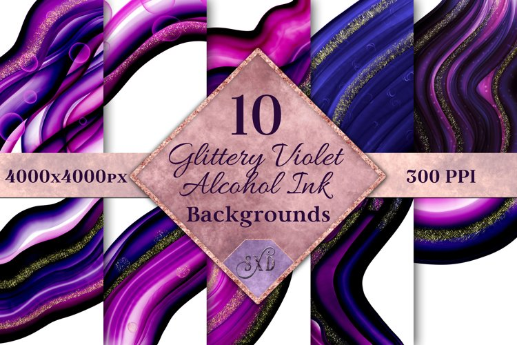 Glittery Violet Alcohol Ink Backgrounds - 10 Image Set