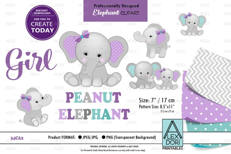 Mommy and baby Elephant clip art, peanut gray purple teal