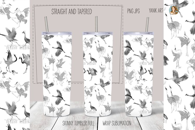 Tumbler sublimation design Skinny Tumbler cranes on white