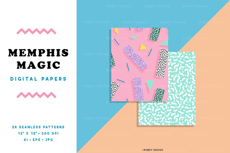 Retro Magic 80s 90s Seamless Patterns and Digital Papers