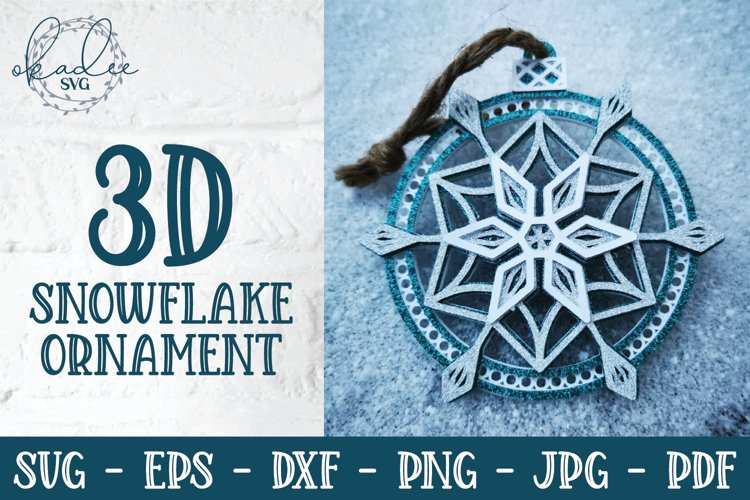3D Snowflake Ornament SVG, 3D Christmas Ornament, DXF example image 1
