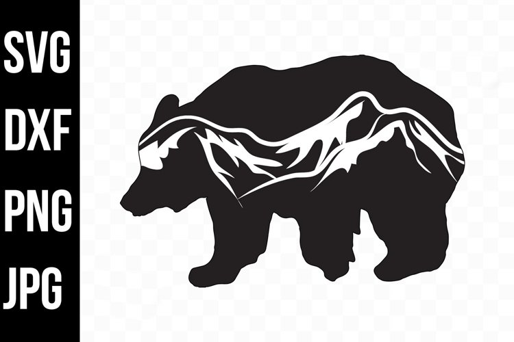 Bear Silhouette with Mountain Scenic- svg, png, dxf, jpg example image 1