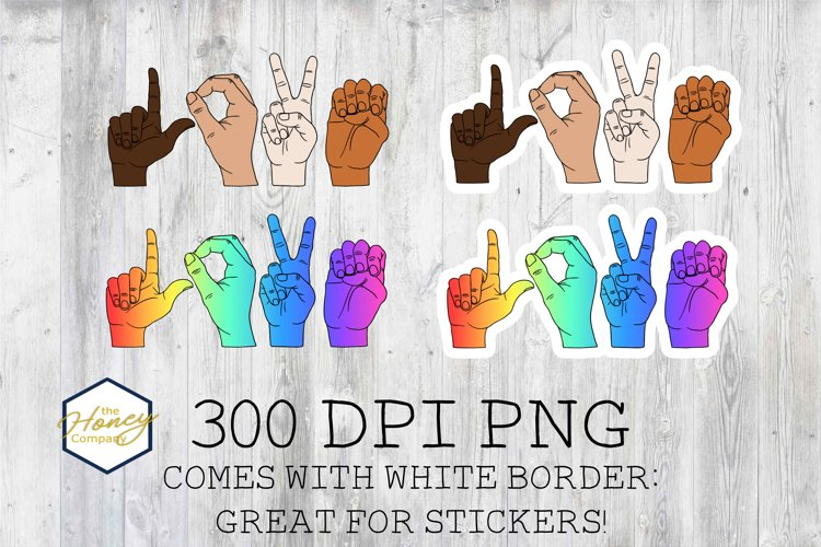 Sign Language Sublimation PNG Skin Tone Rainbow Clipart