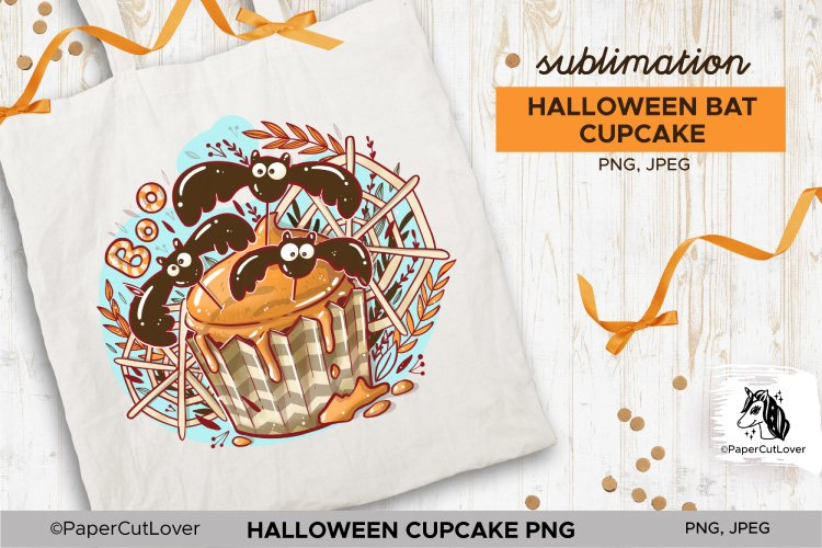 Halloween Cupcake PNG Sublimation PNG Halloween bats PNG example image 1