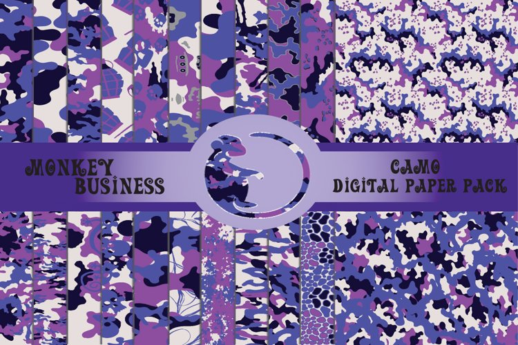 Purple and pink camo digital paper pack, Seamless patterns
