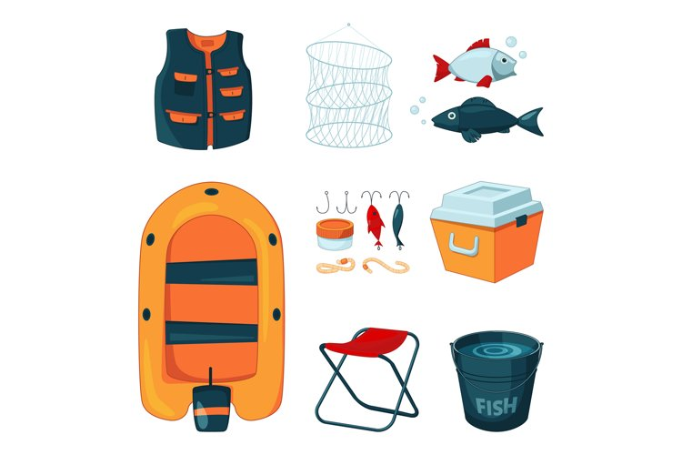 Different tools for fishing. Vector icons set in cartoon sty