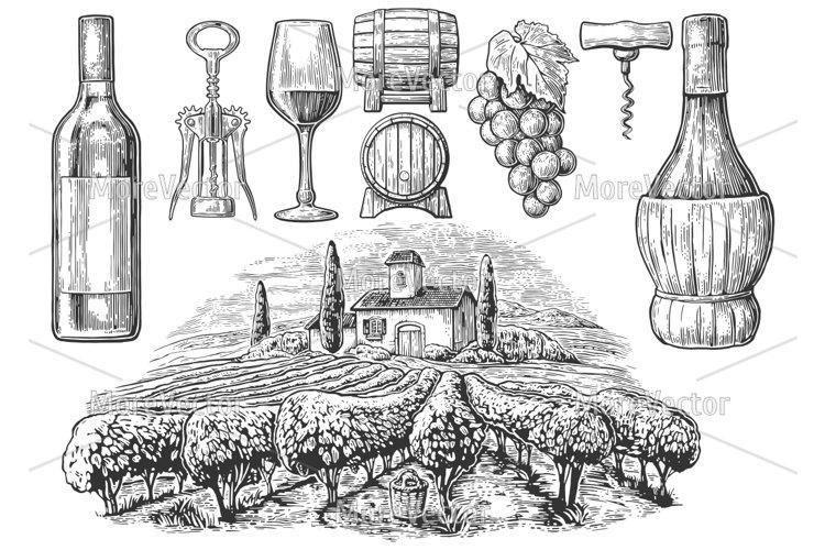 Wine set. Bottle, glass, corkscrew, barrel, vineyard.  example image 1