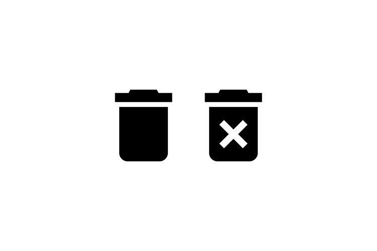 Trash can icon. Delete button. Rubbish basket. Vector example image 1