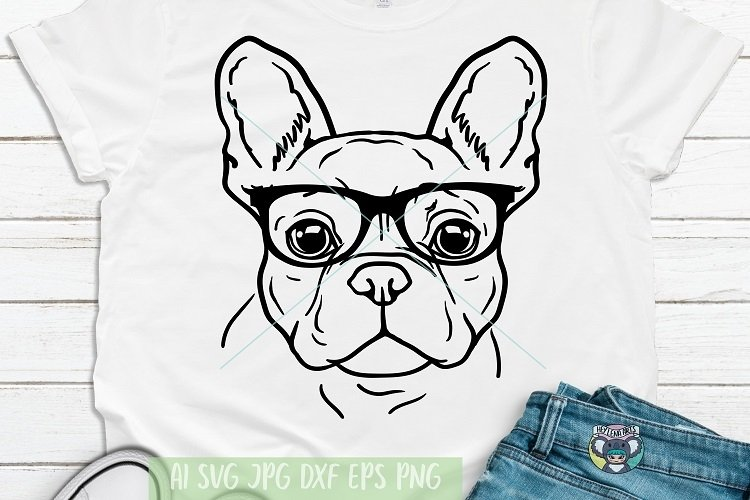 French Bulldog svg, Dog Face With Glasses svg, Cricut Files example image 1