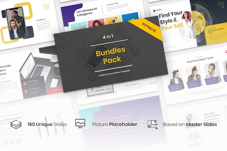 4 in 1 Bundles Pack Creative Keynote Template