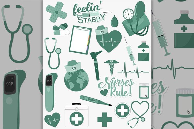 Nursing healthcare clipart set in green