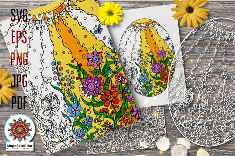 Summer svg files for Coloring, mandala antistres