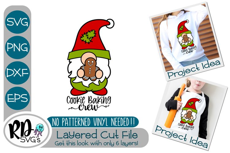 Cookie Baking Crew Gnome - A Cricut Christmas Layered SVG example image 1