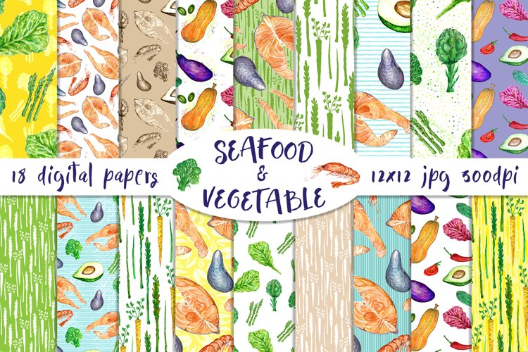 Seafood and Vegetables - 18 digital papers