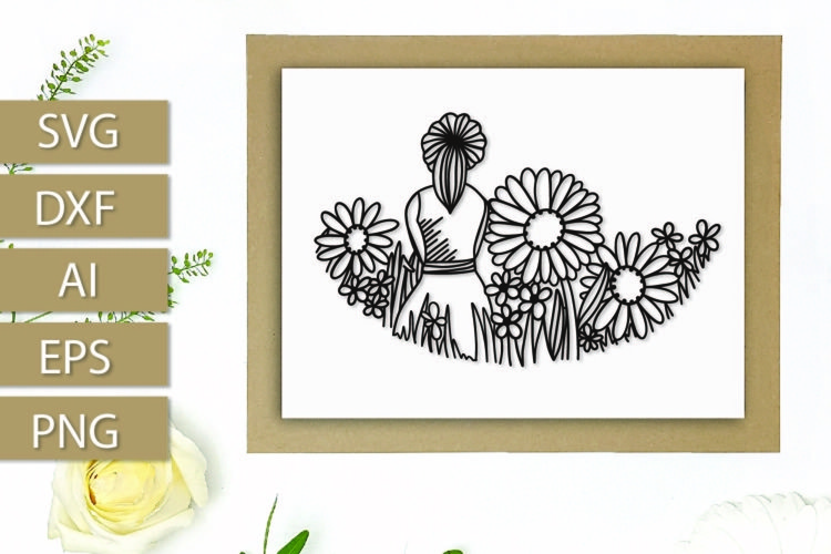 Girl In Wildflowers - Hand Drawn Paper Cut Design