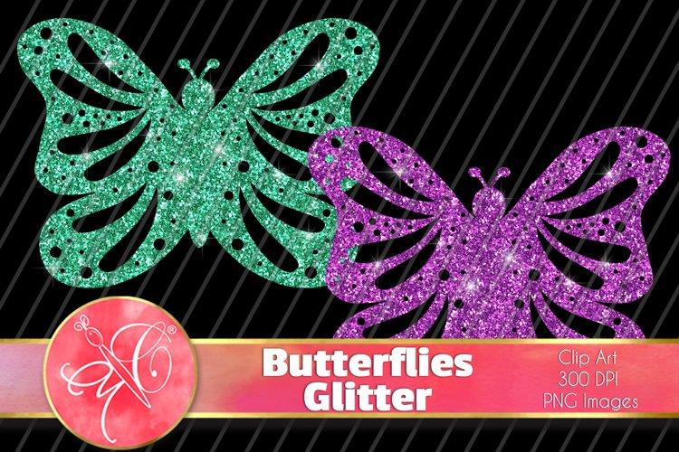 Glitter Butterflies Clip Art / 6 PNG Transparent Backgroun example image 1