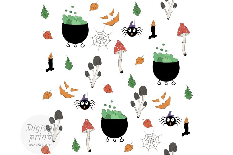 Cute cartoon halloween digital paper, Attributes of Witches example image 1