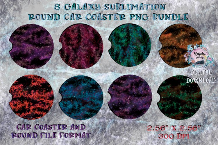 Galaxy  Sublimation  Car Coaster  Round Design example image 1
