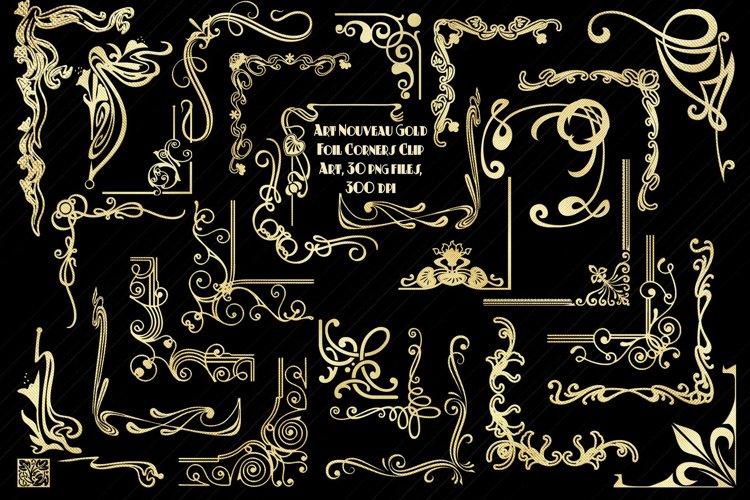 Art Nouveau Gold Foil Corners Clip Art example image 1