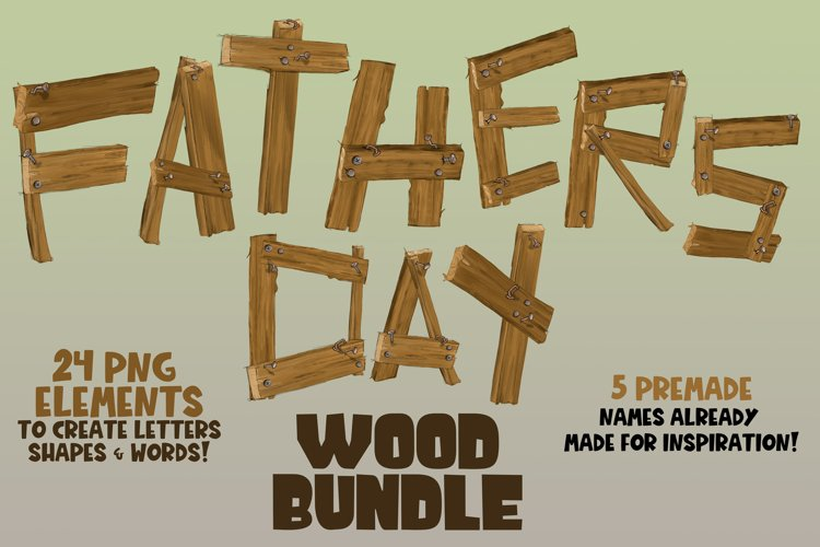 Fathers Day Wood Bundle Wood Builder Wood and Nail clipart