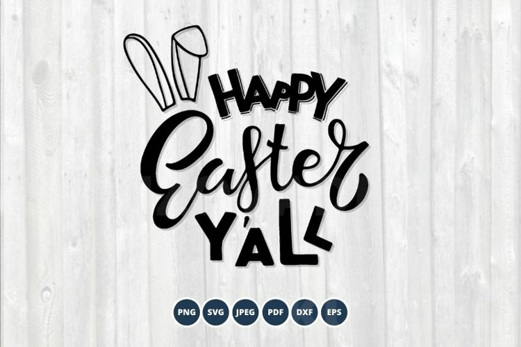 Happy Easter Y'all SVG. Hand drawn Spring lettering. example image 1