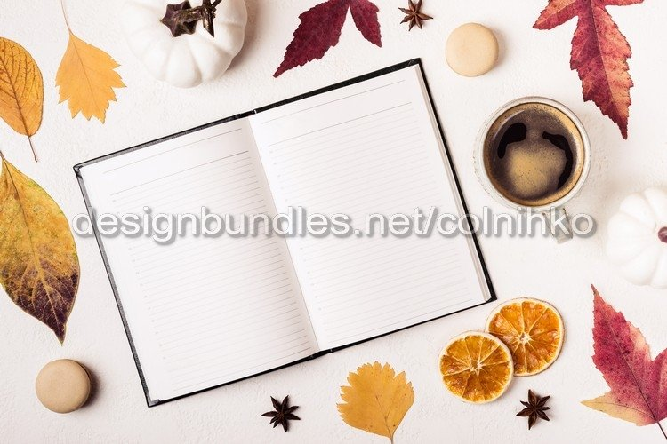 Notepad and cup of coffee example image 1