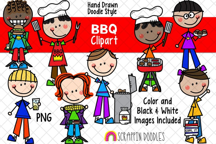 Backyard BBQ ClipArt -Doodle Boys Barbecue Clipart - Picnic