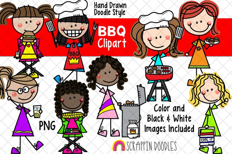 Backyard BBQ ClipArt -Doodle Girls Barbecue Clipart - Picnic