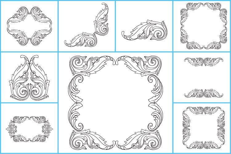 Frame monogram, Ornament svg, Ornament clipart, flower svg.