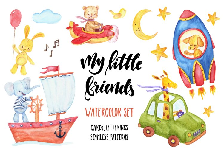 My Little Friends. Watercolor Set. example image 1
