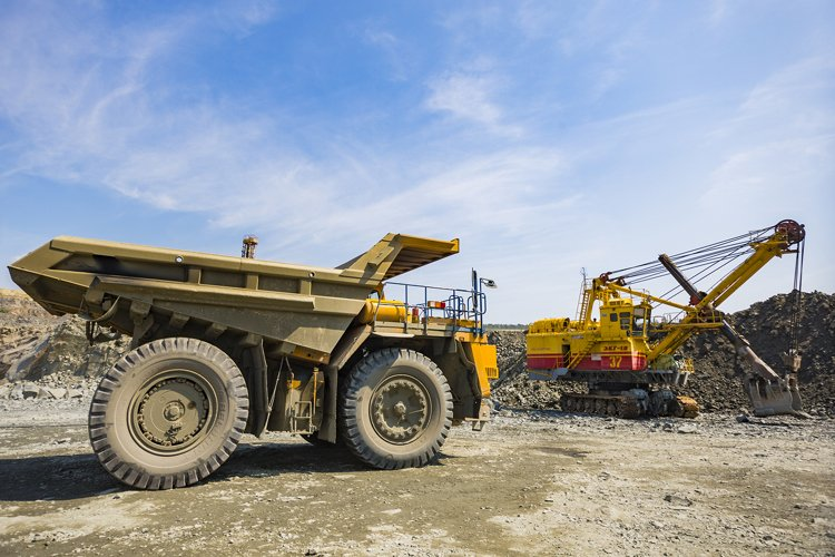 Huge industrial dump truck in stone quarry example image 1