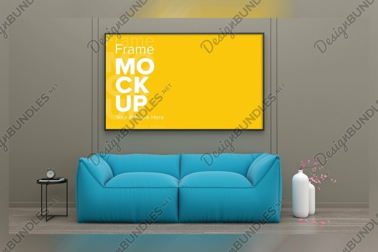 3D Rendered Interior Living Room Mockup example image 1