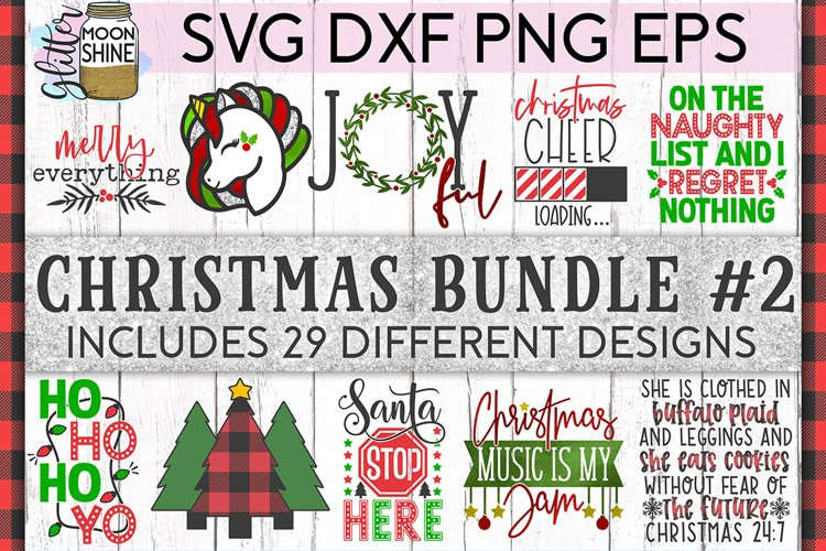 Big Christmas Bundle of 29 SVG DXF PNG EPS Cutting Files #2 example image 1